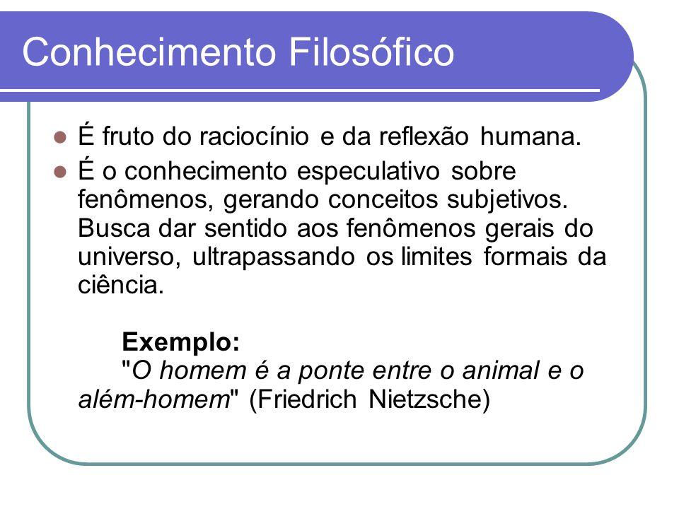 Conhecimento Filosófico É fruto do raciocínio e da reflexão humana.