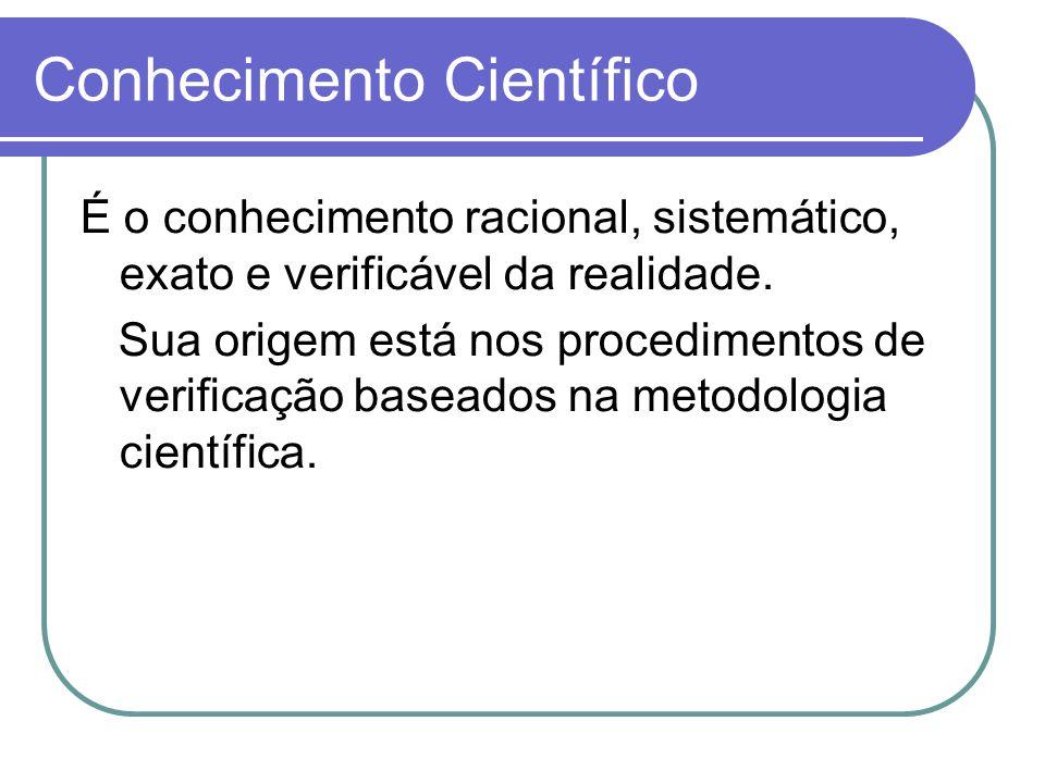 Conhecimento Científico É o conhecimento racional, sistemático, exato e verificável da realidade.