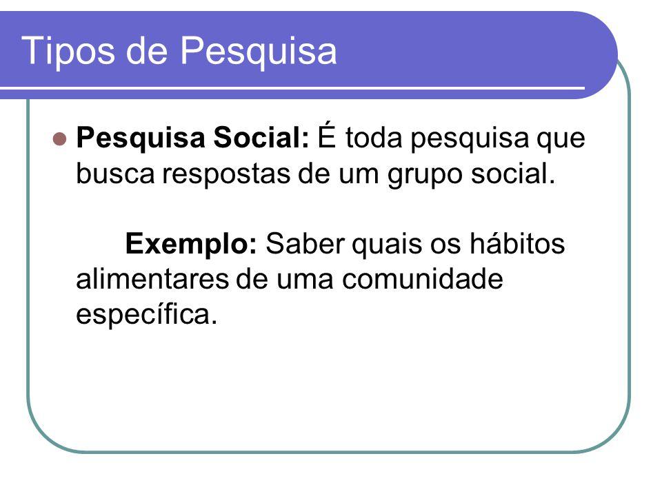 Tipos de Pesquisa Pesquisa Social: É toda pesquisa que busca respostas de um grupo social.