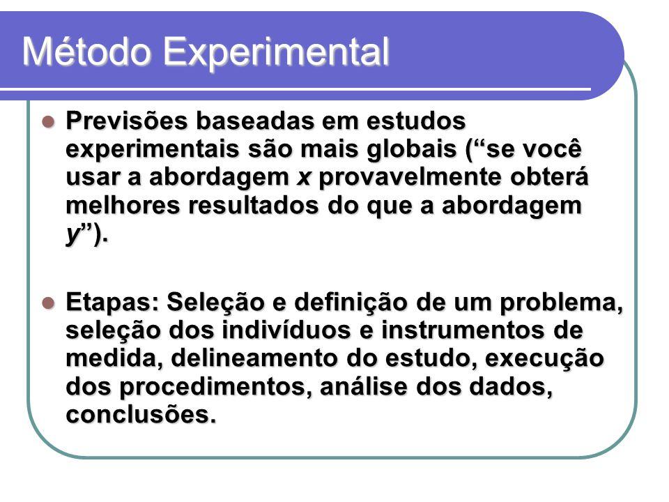 Método Experimental Previsões baseadas em estudos experimentais são mais globais ( se você usar a abordagem x provavelmente obterá melhores resultados do que a abordagem y ).
