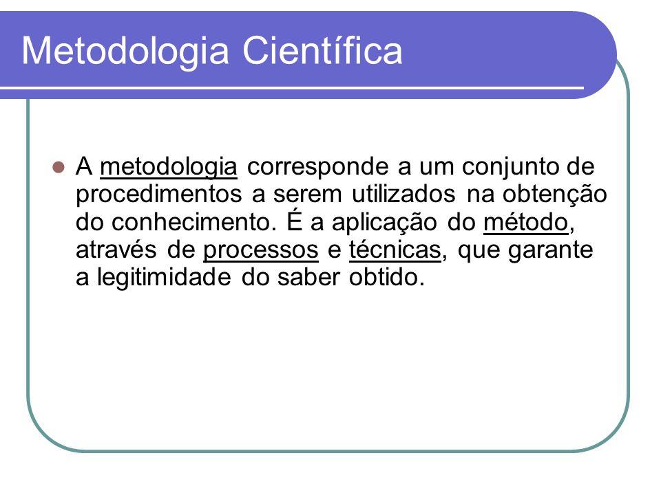 Metodologia Científica A metodologia corresponde a um conjunto de procedimentos a serem utilizados na obtenção do conhecimento.