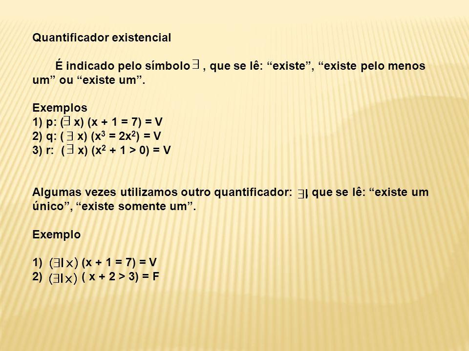 """Quantificador existencial É indicado pelo símbolo, que se lê: """"existe"""", """"existe pelo menos um"""" ou """"existe um"""". Exemplos 1) p: ( x) (x + 1 = 7) = V 2)"""
