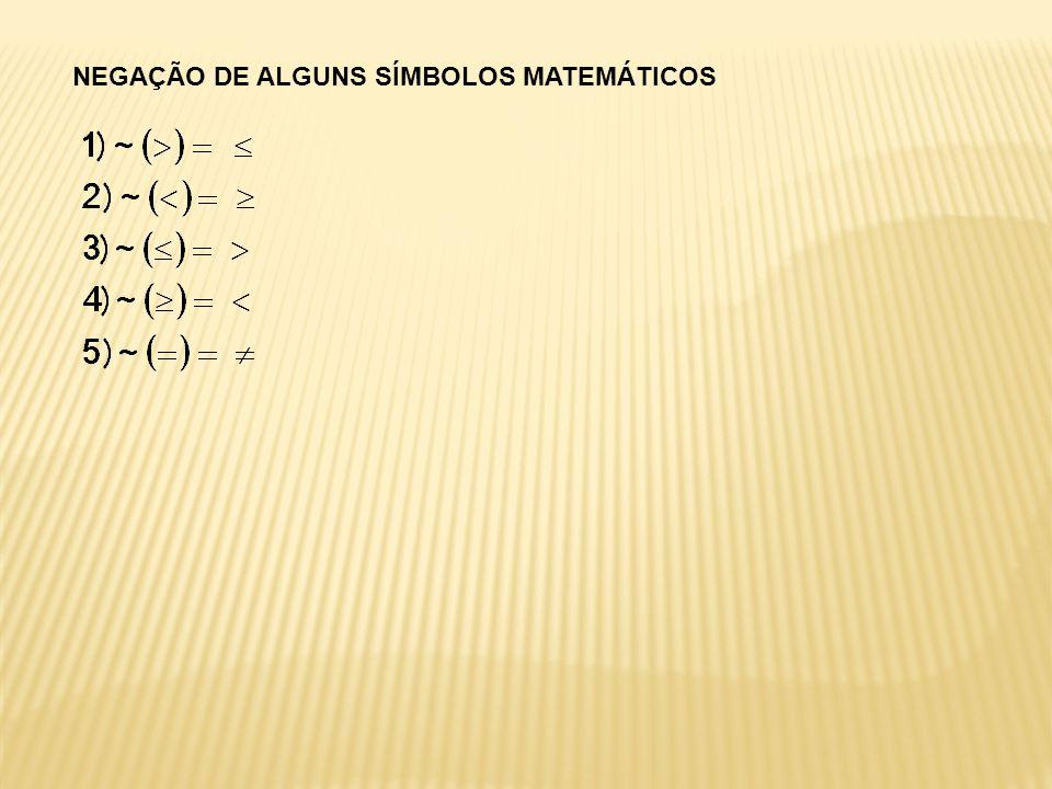 NEGAÇÃO DE ALGUNS SÍMBOLOS MATEMÁTICOS