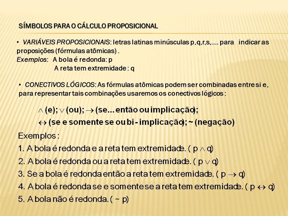 SÍMBOLOS PARA O CÁLCULO PROPOSICIONAL VARIÁVEIS PROPOSICIONAIS: letras latinas minúsculas p,q,r,s,.... para indicar as proposições (fórmulas atômicas)