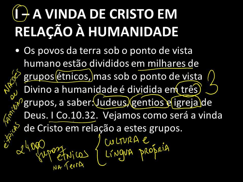 I – A VINDA DE CRISTO EM RELAÇÃO À HUMANIDADE Os povos da terra sob o ponto de vista humano estão divididos em milhares de grupos étnicos, mas sob o p