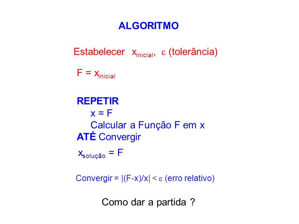 ALGORITMO Convergir = |(F-x)/x| <  (erro relativo) Estabelecer x inicial,  (tolerância) REPETIR x = F Calcular a Função F em x ATÉ Convergir x soluç