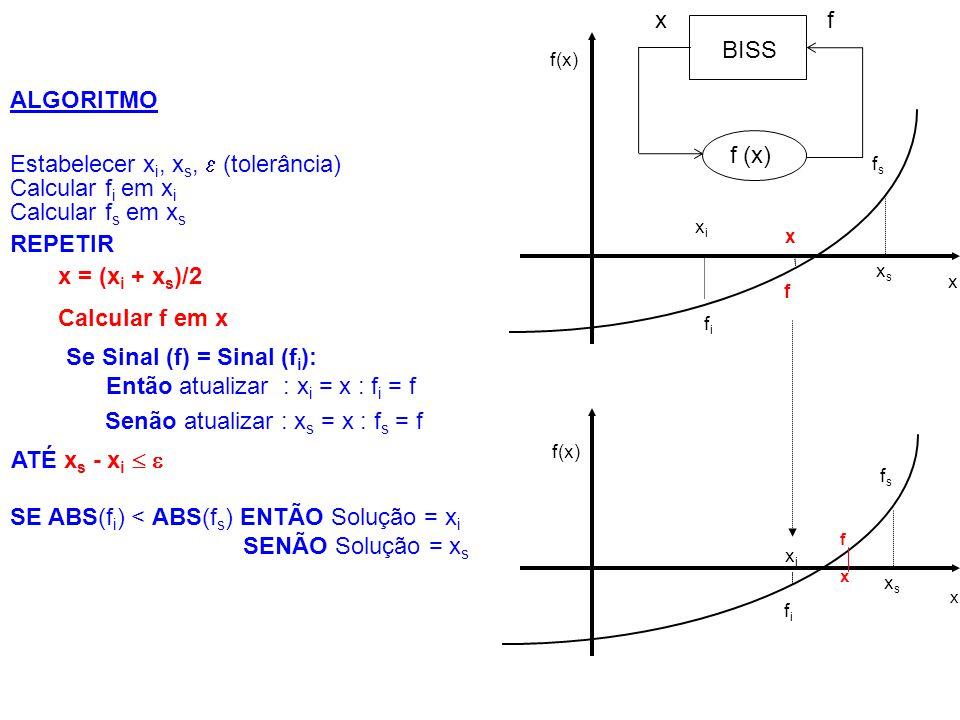 Exemplo: x 1 x 2 * + ln x 1 = 0 Solução para  = 0,1 : x = 0,4375 f = 0,048 x i f i x f x s f s  0,00005 -11,51 1 2 1 0,00005 -11,51 0,5 0,307 0,375 -0,231 0,5 0,307 0,25 -0,88 0,375 -0,231 0,4375 0,048 0,5 0,307 0,25 -0,88 0,375 -0,231 0,43750,048 0,5 0,25 0,125 0,0625 f = x 1 x 2 * + ln x 1 x 2 * = 2 : x i = 0 : x s = 1:  = 0,1 Se Sinal (f) = Sinal (f i ): Então atualizar : x i = x : f i = f Estabelecer x i, x s,  (tolerância) Calcular f i em x i Calcular f s em x s REPETIR x = (x i + x s )/2 Calcular f em x Senão atualizar : x s = x : f s = f ATÉ x s - x i  