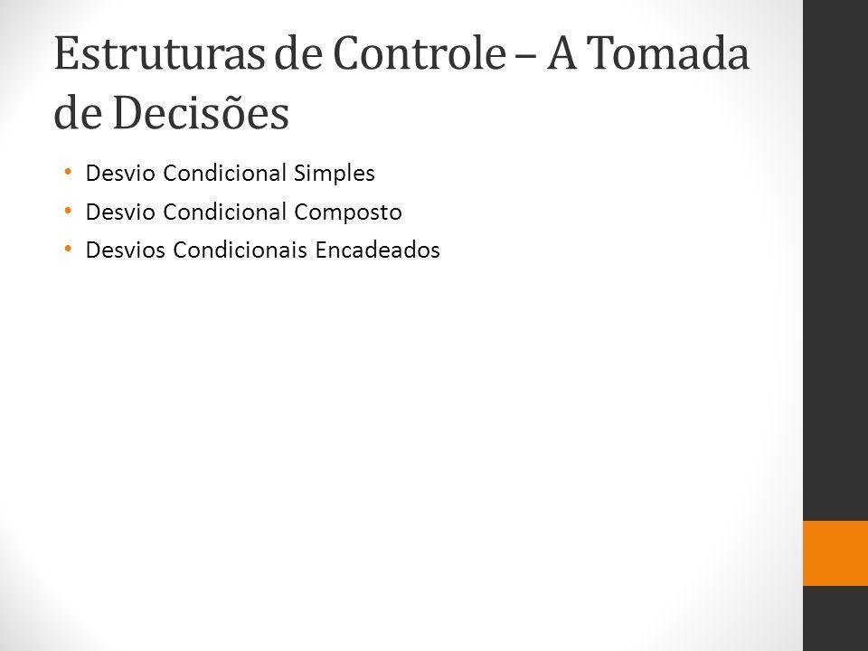 Estruturas de Controle – A Tomada de Decisões Desvio Condicional Simples Desvio Condicional Composto Desvios Condicionais Encadeados