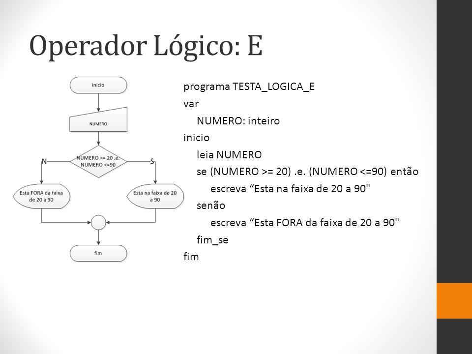 Operador Lógico: E programa TESTA_LOGICA_E var NUMERO: inteiro inicio leia NUMERO se (NUMERO >= 20).e.