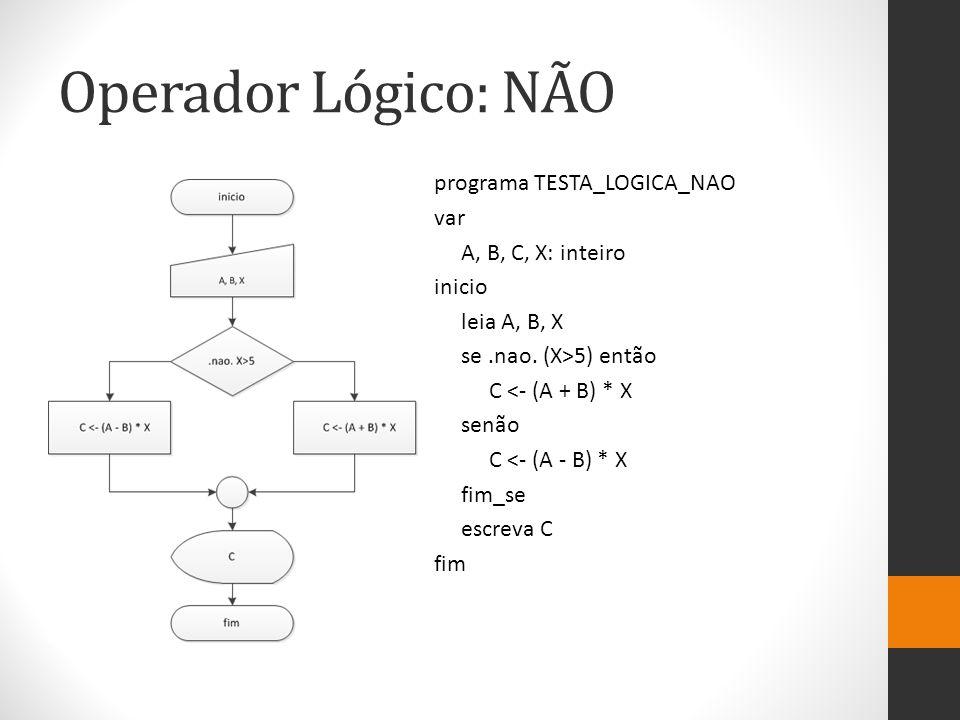 Operador Lógico: NÃO programa TESTA_LOGICA_NAO var A, B, C, X: inteiro inicio leia A, B, X se.nao. (X>5) então C <- (A + B) * X senão C <- (A - B) * X