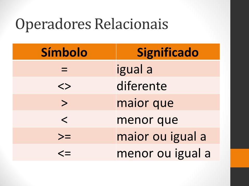 Operadores Relacionais SímboloSignificado =igual a <>diferente >maior que <menor que >=maior ou igual a <=menor ou igual a