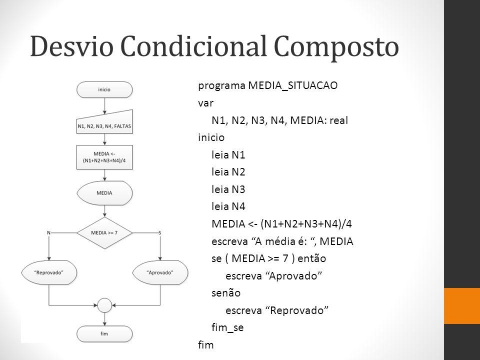 Desvio Condicional Composto programa MEDIA_SITUACAO var N1, N2, N3, N4, MEDIA: real inicio leia N1 leia N2 leia N3 leia N4 MEDIA <- (N1+N2+N3+N4)/4 escreva A média é: , MEDIA se ( MEDIA >= 7 ) então escreva Aprovado senão escreva Reprovado fim_se fim