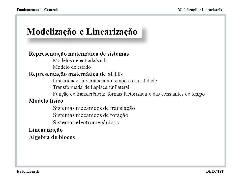 Modelização e LinearizaçãoFundamentos de Controlo DEEC/ISTIsabel Lourtie Modelização e Linearização Representação matemática de sistemas Modelos de en