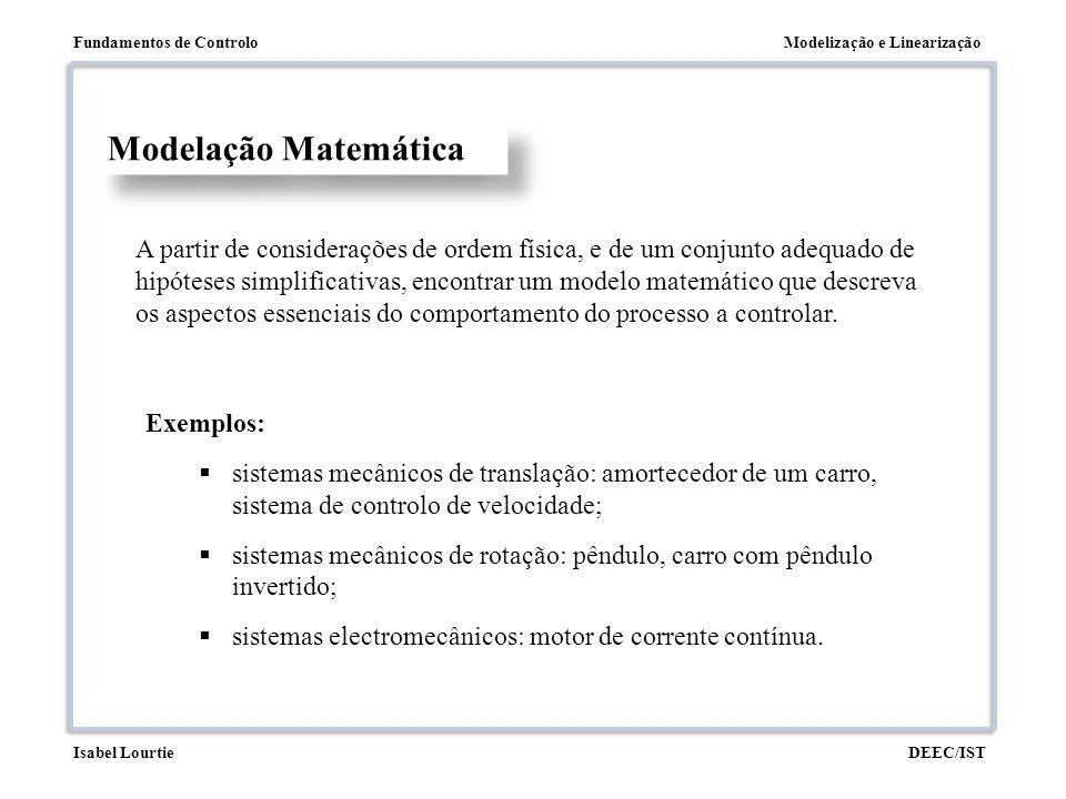 Modelização e LinearizaçãoFundamentos de Controlo DEEC/ISTIsabel Lourtie Modelação Matemática Exemplos:  sistemas mecânicos de translação: amortecedo