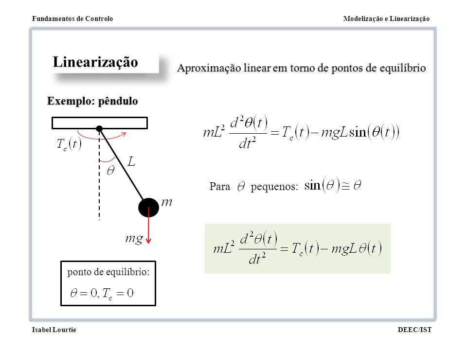 Modelização e LinearizaçãoFundamentos de Controlo DEEC/ISTIsabel Lourtie Linearização Exemplo: pêndulo Aproximação linear em torno de pontos de equilí