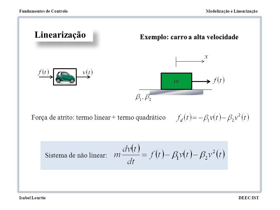 Modelização e LinearizaçãoFundamentos de Controlo DEEC/ISTIsabel Lourtie Linearização Exemplo: carro a alta velocidade Força de atrito: termo linear +