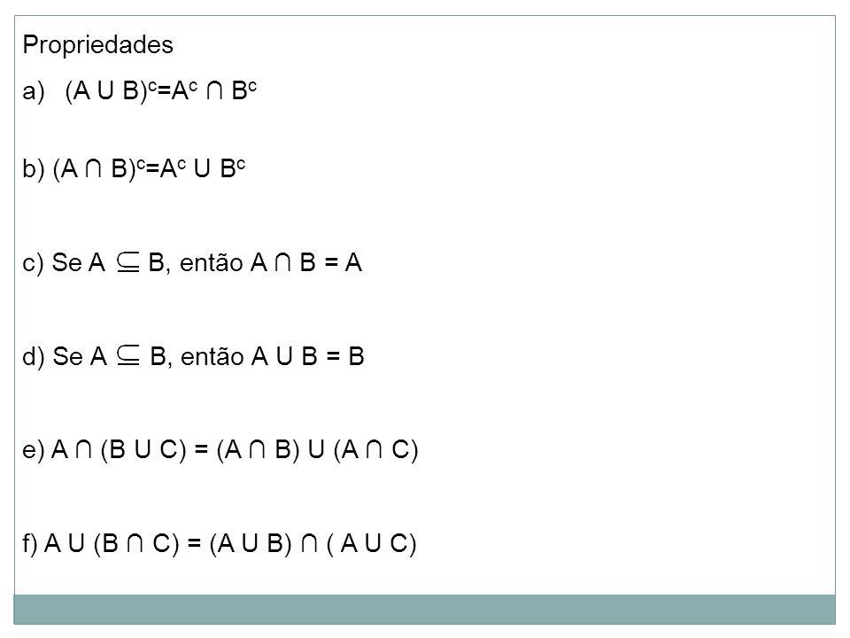 Propriedades a)(A U B) c =A c ∩ B c b) (A ∩ B) c =A c U B c c) Se A B, então A ∩ B = A d) Se A B, então A U B = B e) A ∩ (B U C) = (A ∩ B) U (A ∩ C) f