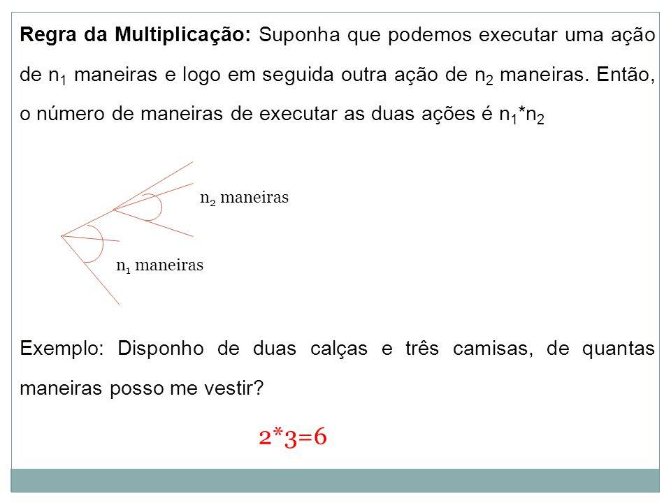 Exemplo: Disponho de duas calças e três camisas, de quantas maneiras posso me vestir? 2*3=6 n 1 maneiras n 2 maneiras Regra da Multiplicação: Suponha
