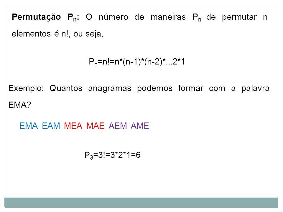 Permutação P n : O número de maneiras P n de permutar n elementos é n!, ou seja, Exemplo: Quantos anagramas podemos formar com a palavra EMA? EMA P n