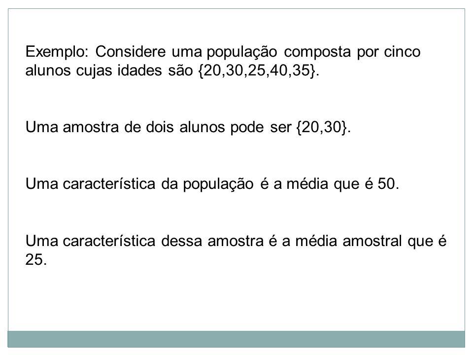 Exemplo: Considere uma população composta por cinco alunos cujas idades são {20,30,25,40,35}. Uma amostra de dois alunos pode ser {20,30}. Uma caracte