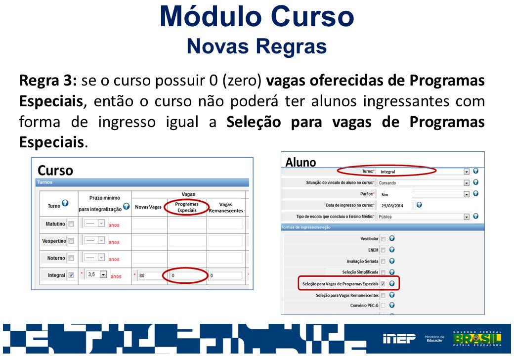Módulo Curso Novas Regras Regra 3: se o curso possuir 0 (zero) vagas oferecidas de Programas Especiais, então o curso não poderá ter alunos ingressant