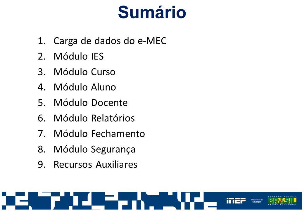 Sumário 1.Carga de dados do e-MEC 2.Módulo IES 3.Módulo Curso 4.Módulo Aluno 5.Módulo Docente 6.Módulo Relatórios 7.Módulo Fechamento 8.Módulo Segurança 9.Recursos Auxiliares