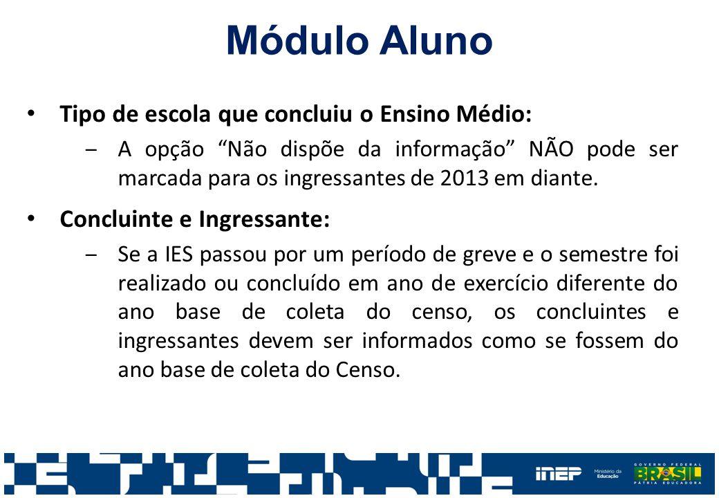 Módulo Aluno Tipo de escola que concluiu o Ensino Médio: ‒A opção Não dispõe da informação NÃO pode ser marcada para os ingressantes de 2013 em diante.