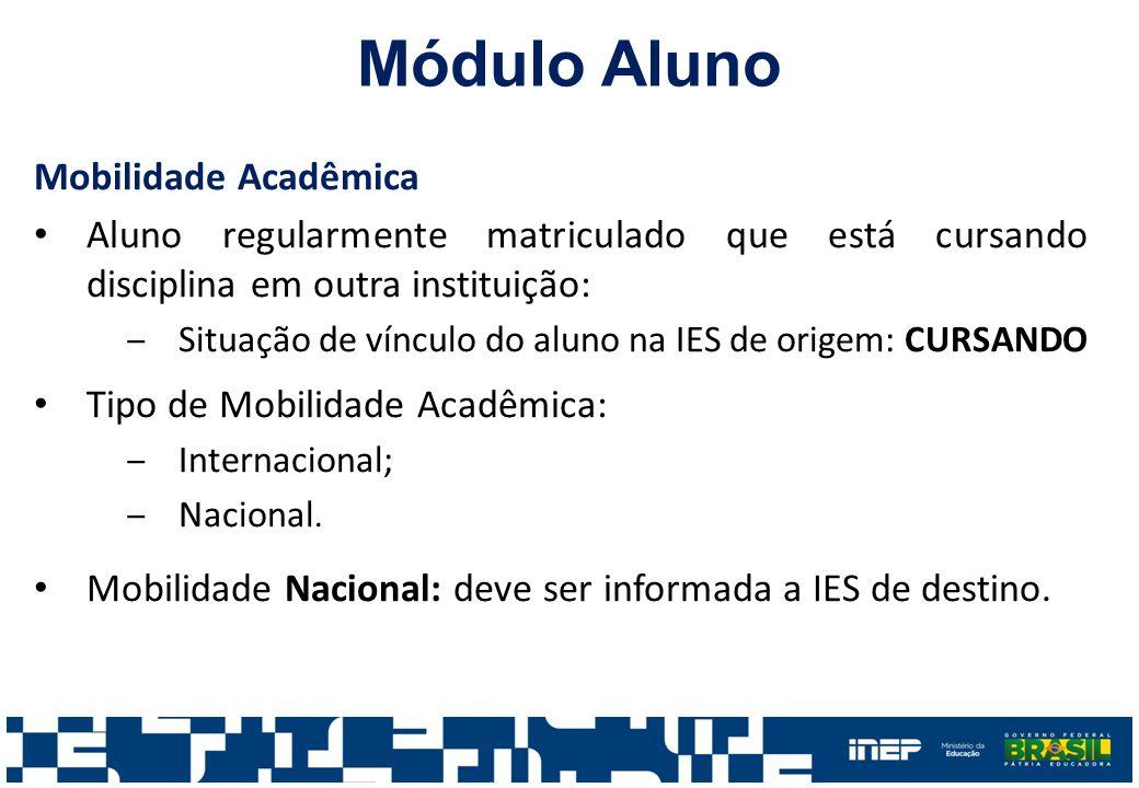 Módulo Aluno Mobilidade Acadêmica Aluno regularmente matriculado que está cursando disciplina em outra instituição: ‒Situação de vínculo do aluno na I