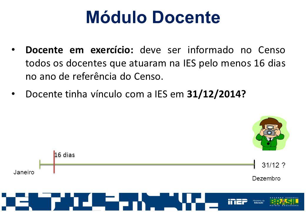 Módulo Docente Docente em exercício: deve ser informado no Censo todos os docentes que atuaram na IES pelo menos 16 dias no ano de referência do Censo.