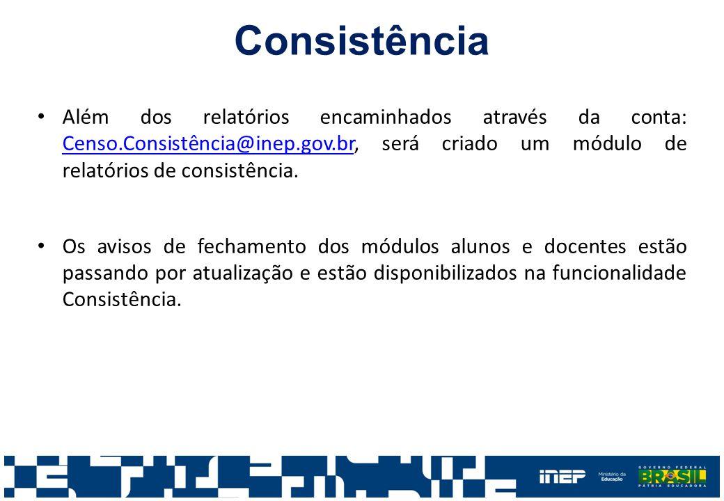 Além dos relatórios encaminhados através da conta: Censo.Consistência@inep.gov.br, será criado um módulo de relatórios de consistência. Censo.Consistê