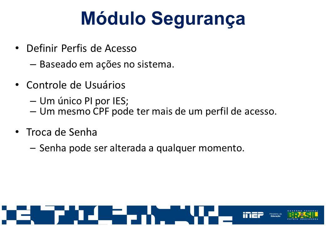 Definir Perfis de Acesso – Baseado em ações no sistema. Controle de Usuários – Um único PI por IES; – Um mesmo CPF pode ter mais de um perfil de acess