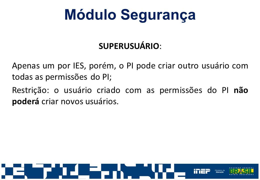 SUPERUSUÁRIO: Apenas um por IES, porém, o PI pode criar outro usuário com todas as permissões do PI; Restrição: o usuário criado com as permissões do