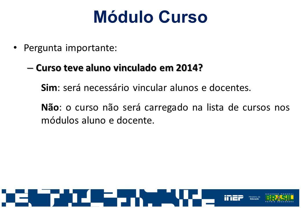 Módulo Curso Pergunta importante: – Curso teve aluno vinculado em 2014.