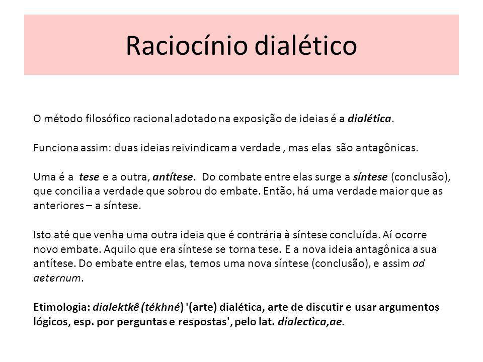 Raciocínio dialético O método filosófico racional adotado na exposição de ideias é a dialética. Funciona assim: duas ideias reivindicam a verdade, mas