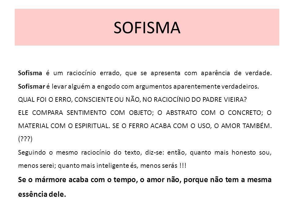 SOFISMA Sofisma é um raciocínio errado, que se apresenta com aparência de verdade. Sofismar é levar alguém a engodo com argumentos aparentemente verda