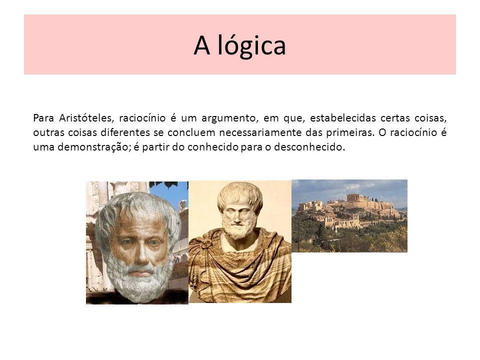 A lógica Para Aristóteles, raciocínio é um argumento, em que, estabelecidas certas coisas, outras coisas diferentes se concluem necessariamente das pr