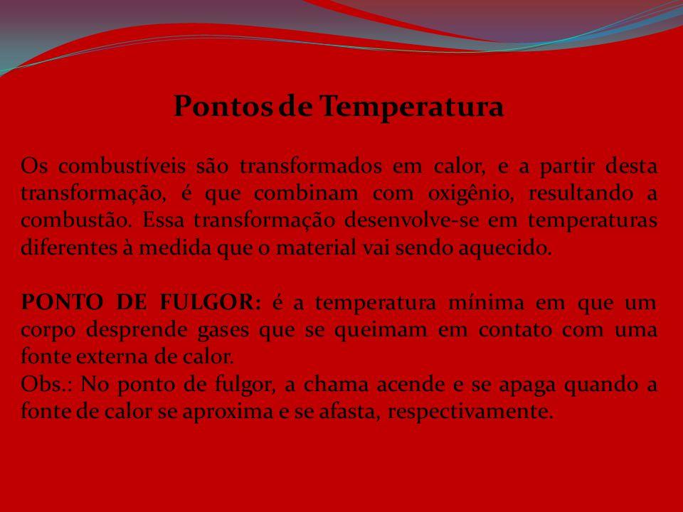 Pontos de Temperatura Os combustíveis são transformados em calor, e a partir desta transformação, é que combinam com oxigênio, resultando a combustão.