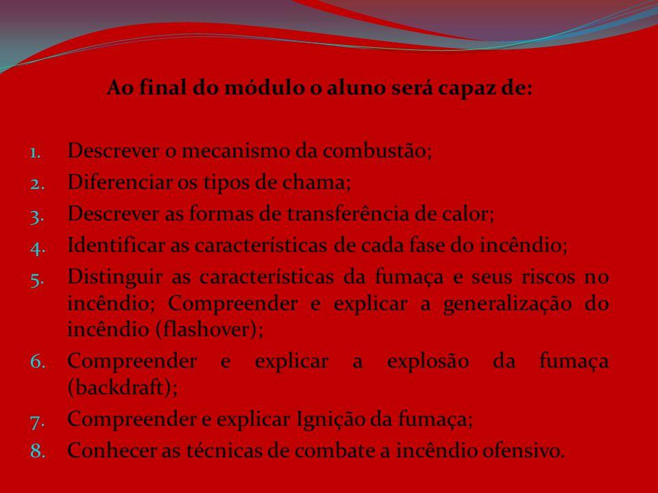 Ao final do módulo o aluno será capaz de: 1. Descrever o mecanismo da combustão; 2. Diferenciar os tipos de chama; 3. Descrever as formas de transferê