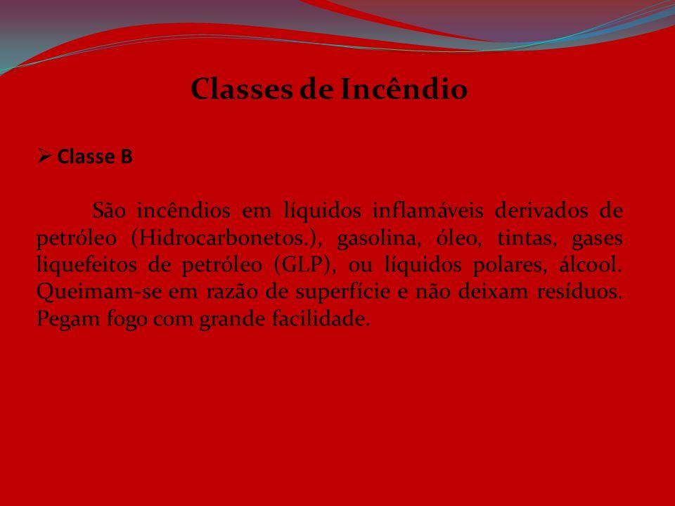 Classes de Incêndio  Classe B São incêndios em líquidos inflamáveis derivados de petróleo (Hidrocarbonetos.), gasolina, óleo, tintas, gases liquefeit