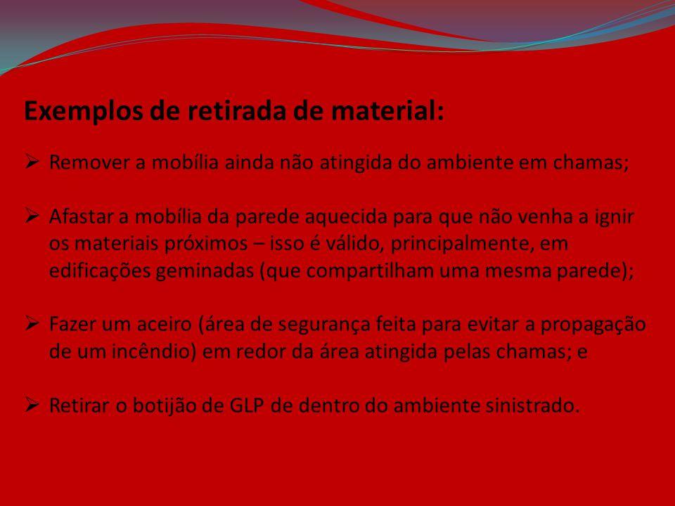 Exemplos de retirada de material:  Remover a mobília ainda não atingida do ambiente em chamas;  Afastar a mobília da parede aquecida para que não ve