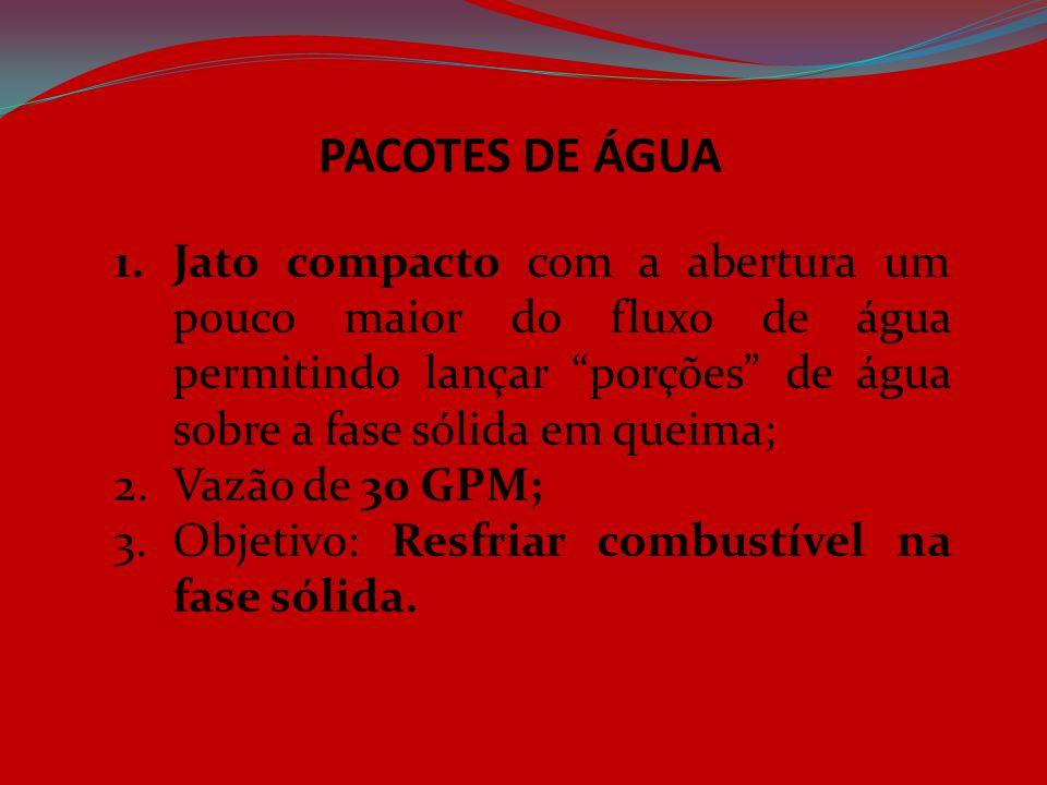 """PACOTES DE ÁGUA 1.Jato compacto com a abertura um pouco maior do fluxo de água permitindo lançar """"porções"""" de água sobre a fase sólida em queima; 2.Va"""