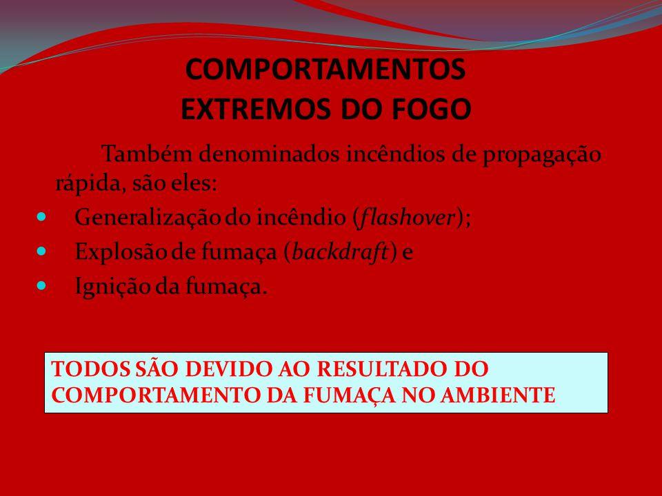 COMPORTAMENTOS EXTREMOS DO FOGO Também denominados incêndios de propagação rápida, são eles: Generalização do incêndio (flashover); Explosão de fumaça
