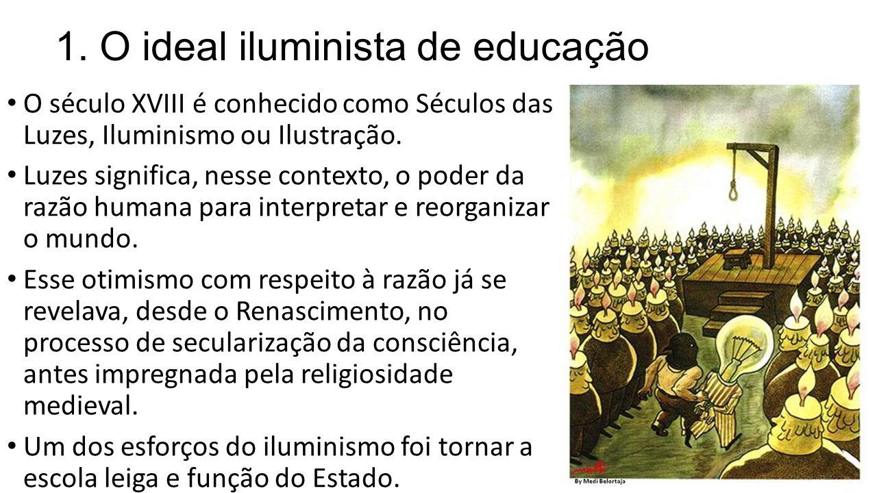 1. O ideal iluminista de educação O século XVIII é conhecido como Séculos das Luzes, Iluminismo ou Ilustração. Luzes significa, nesse contexto, o pode