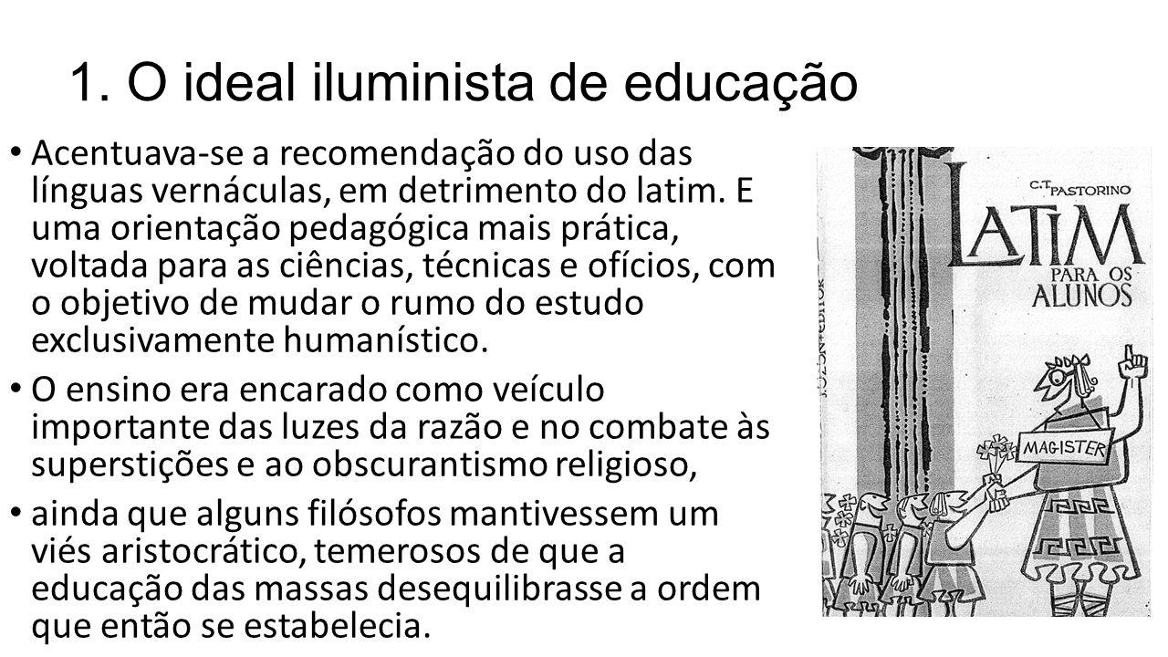 1. O ideal iluminista de educação Acentuava-se a recomendação do uso das línguas vernáculas, em detrimento do latim. E uma orientação pedagógica mais