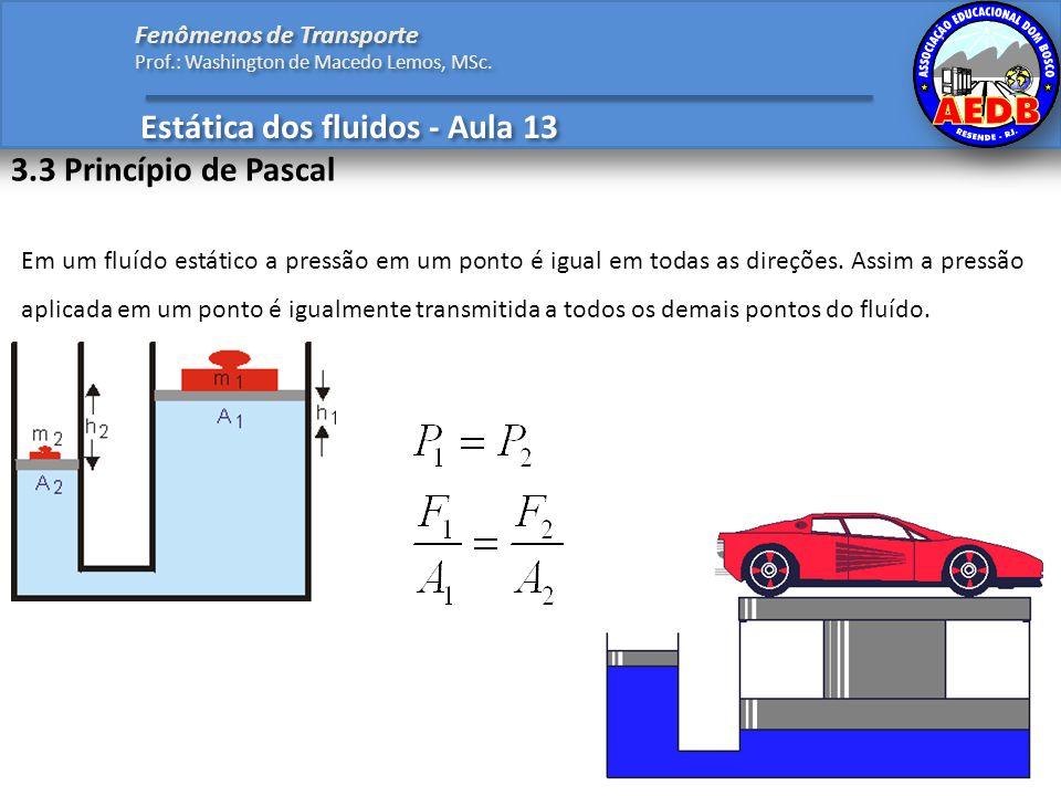 Estática dos fluidos - Aula 13 Fenômenos de Transporte Prof.: Washington de Macedo Lemos, MSc. 3.3 Princípio de Pascal Em um fluído estático a pressão