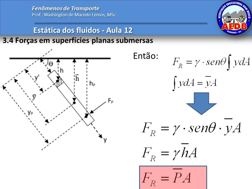 Estática dos fluidos - Aula 12 Fenômenos de Transporte Prof.: Washington de Macedo Lemos, MSc. 3.4 Forças em superfícies planas submersas Então: