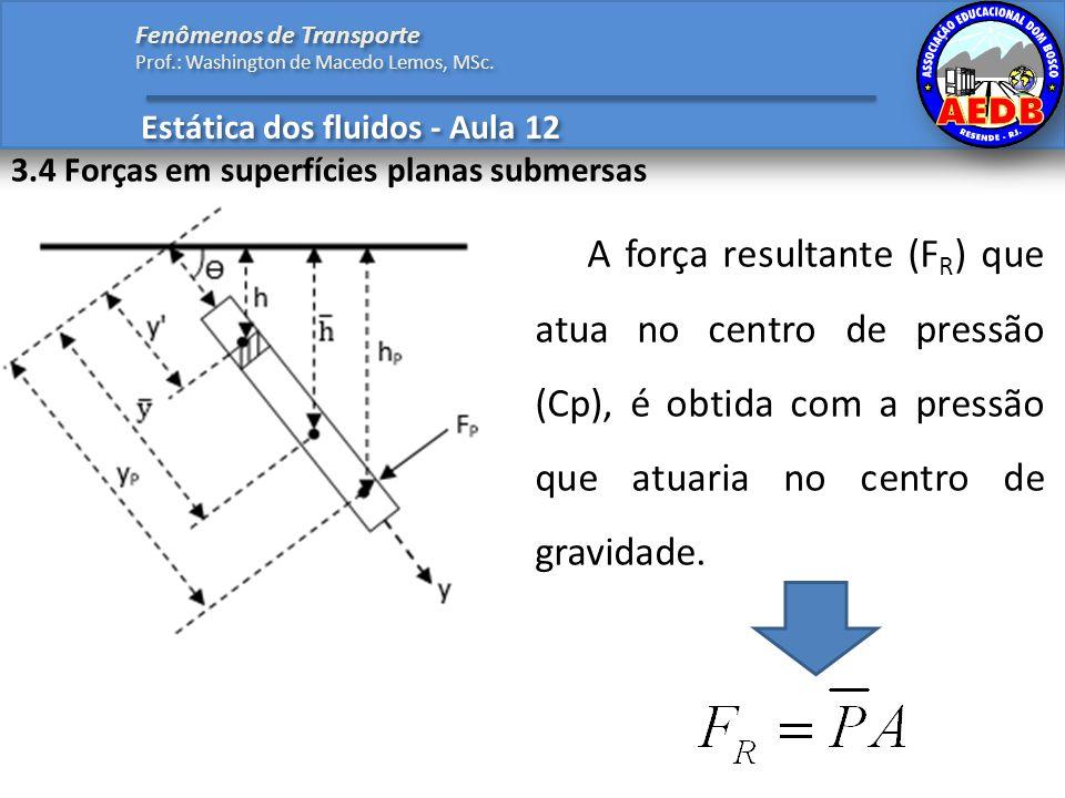 Estática dos fluidos - Aula 12 Fenômenos de Transporte Prof.: Washington de Macedo Lemos, MSc. 3.4 Forças em superfícies planas submersas A força resu