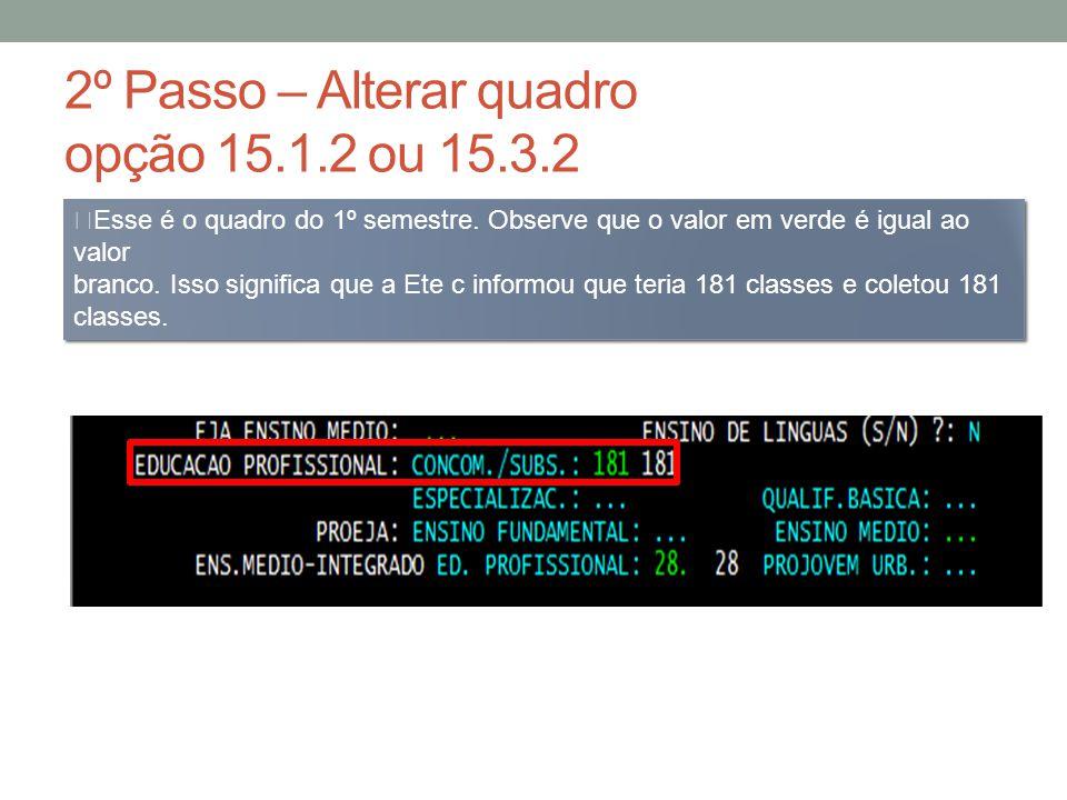 2º Passo – Alterar quadro opção 15.1.2 ou 15.3.2 Observe agora, que o valor em verde está maior, mas o valor em branco não.