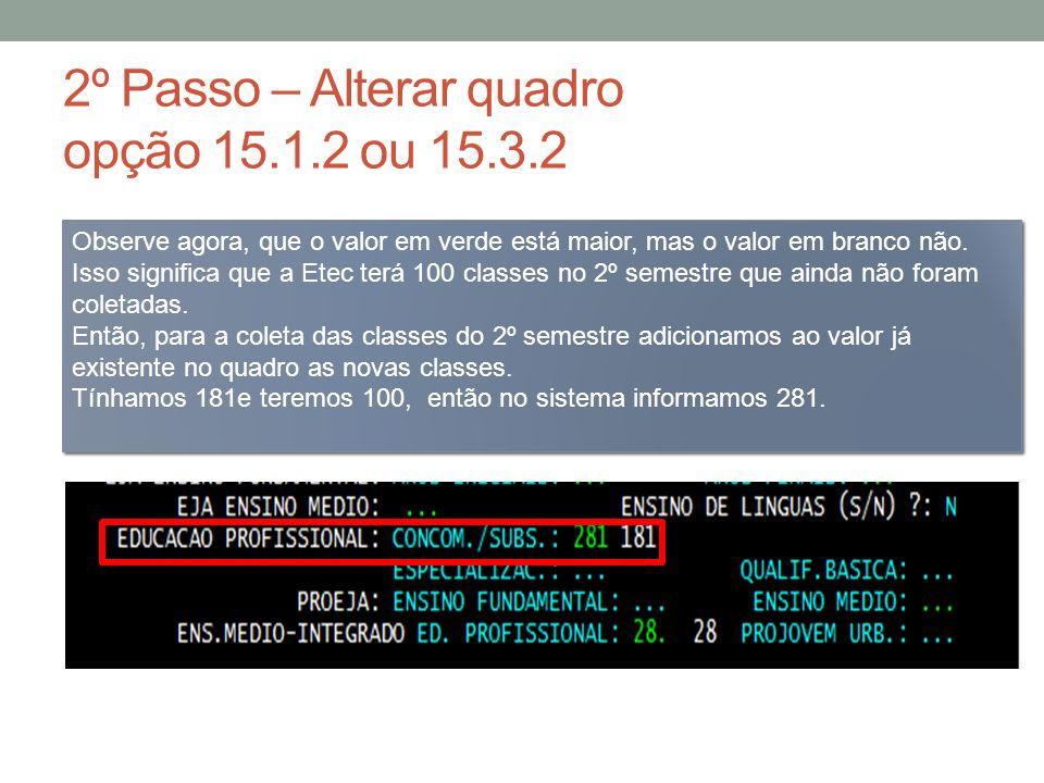 3º Passo – gerar numeração opção 15.2.8 ou 15.4.8 Veja que o sistema informa quando a Etec já possui numeração disponível e quantas serão geradas.