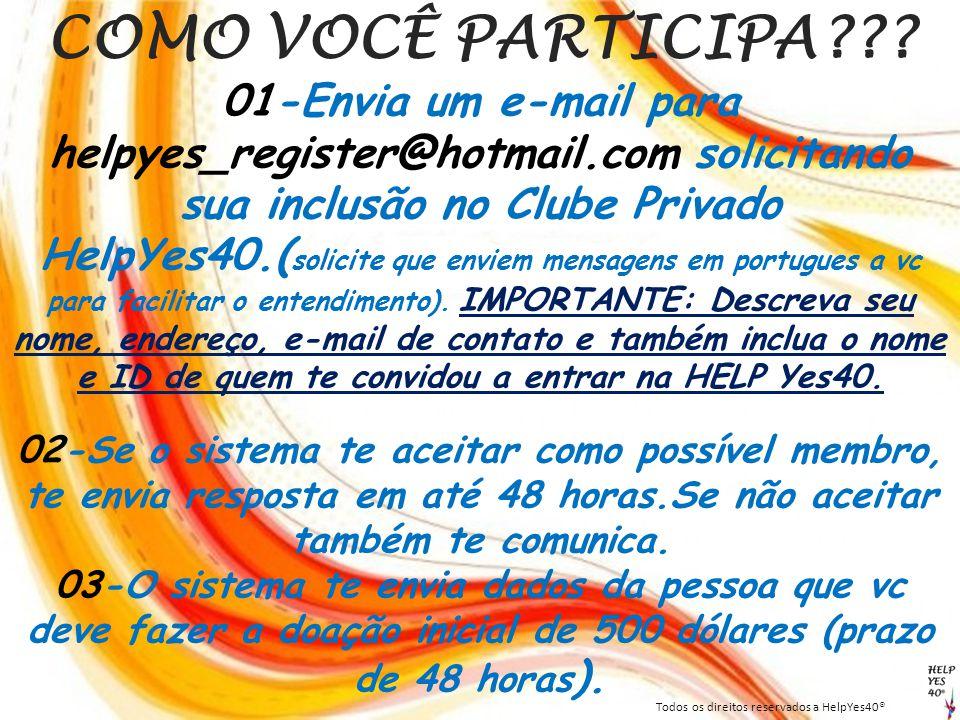 COMO VOCÊ PARTICIPA??? 01-Envia um e-mail para helpyes_register@hotmail.com solicitando sua inclusão no Clube Privado HelpYes40.( solicite que enviem